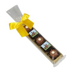 branded Easter chocolate pralines stick 'I love you'